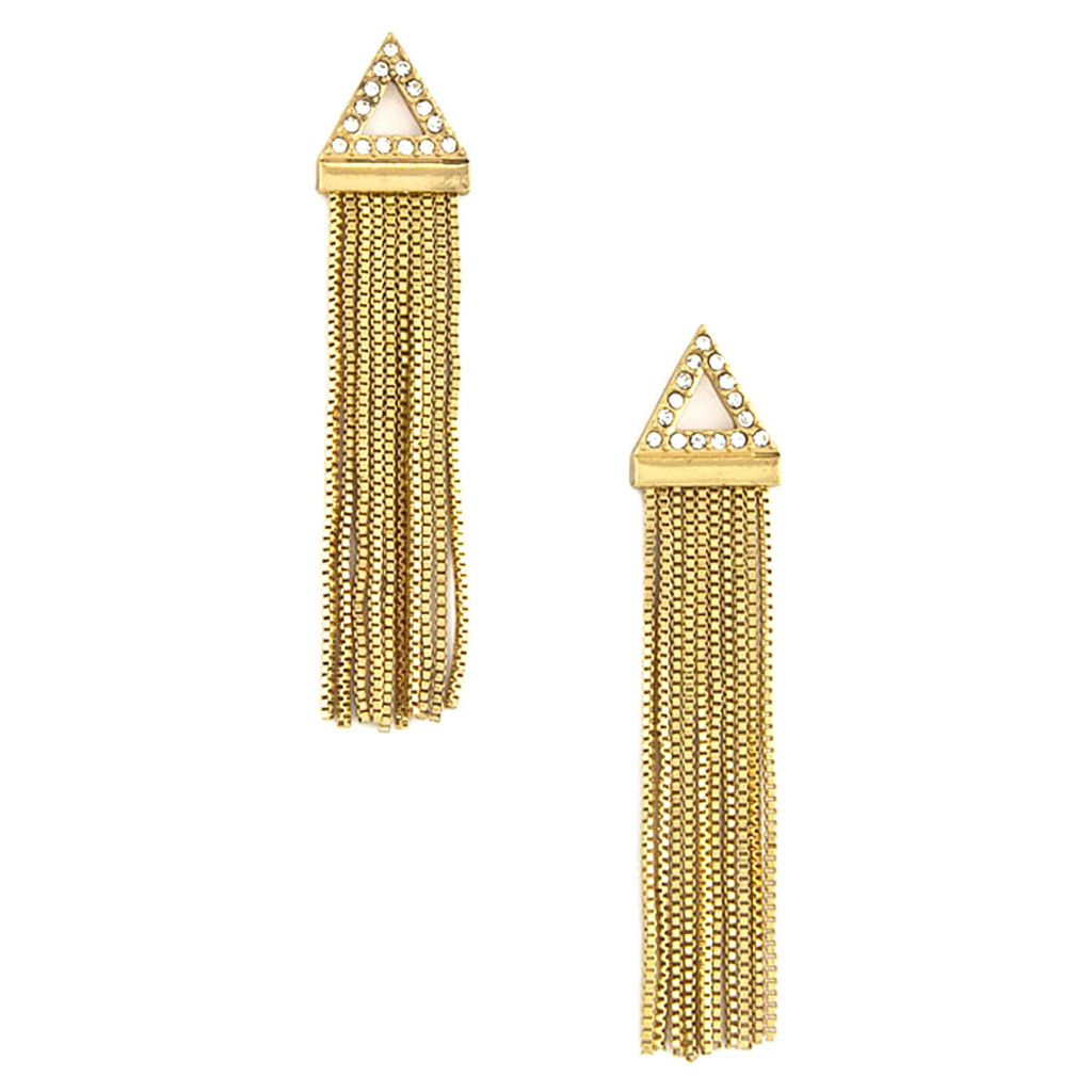 Fringed Triangle Earring Gold
