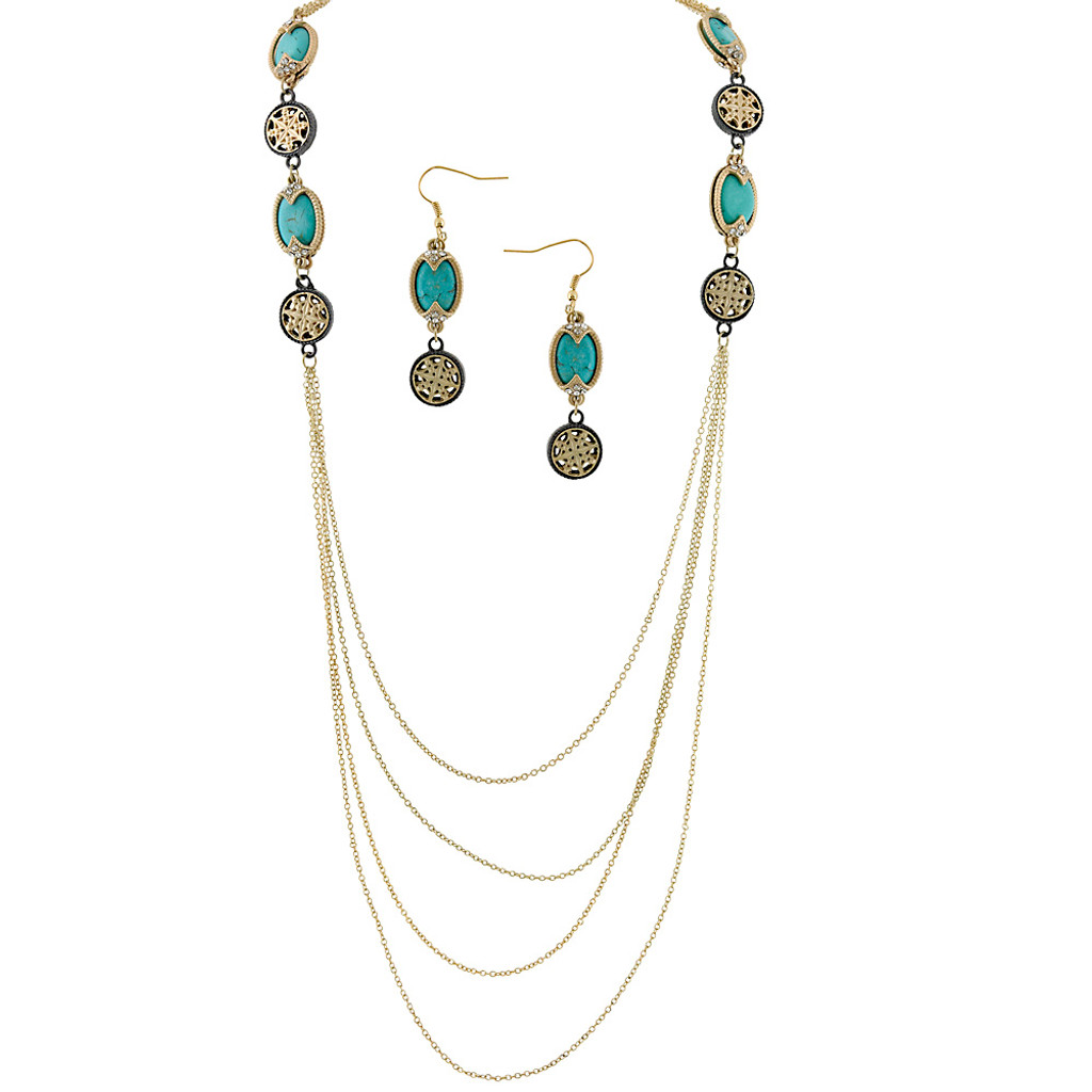 Long Mediterranean Turquoise Chain with Earrings