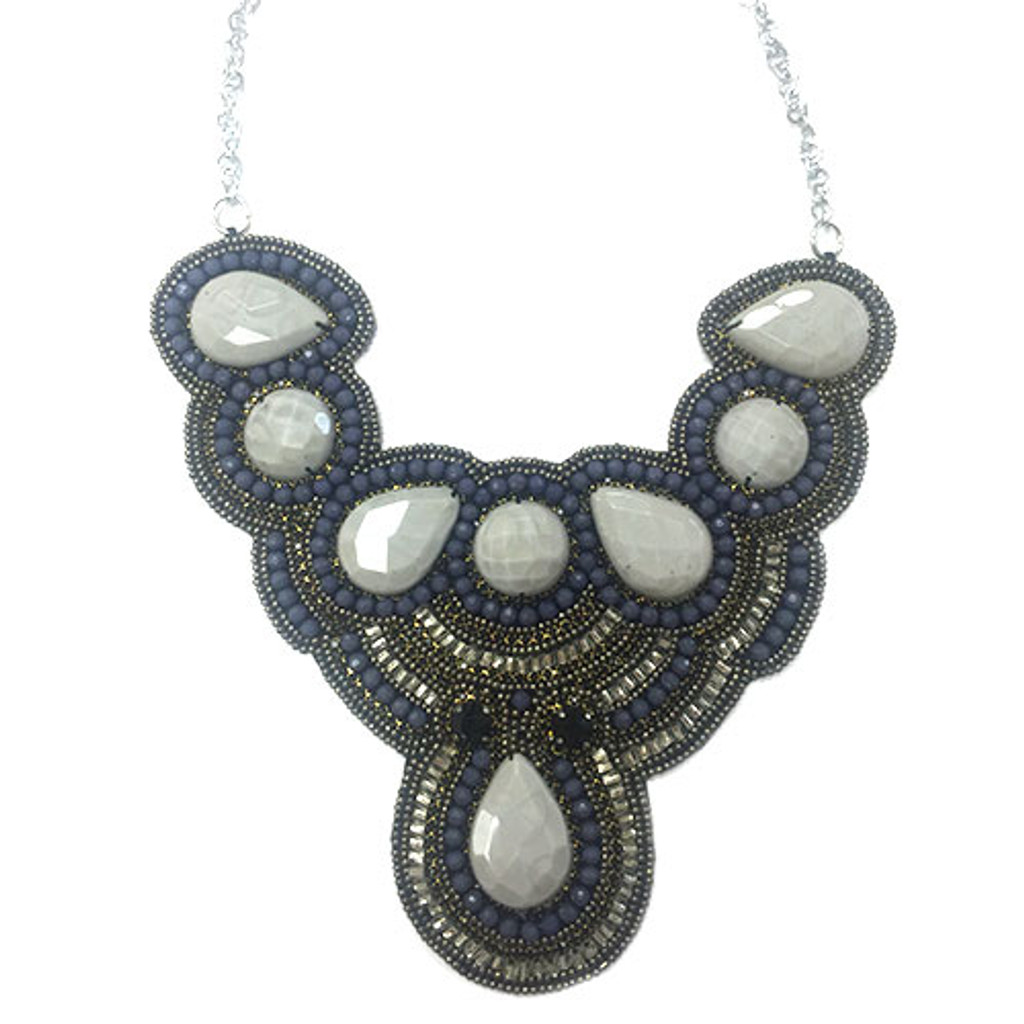 Hues of Gray Beaded Statement Bib
