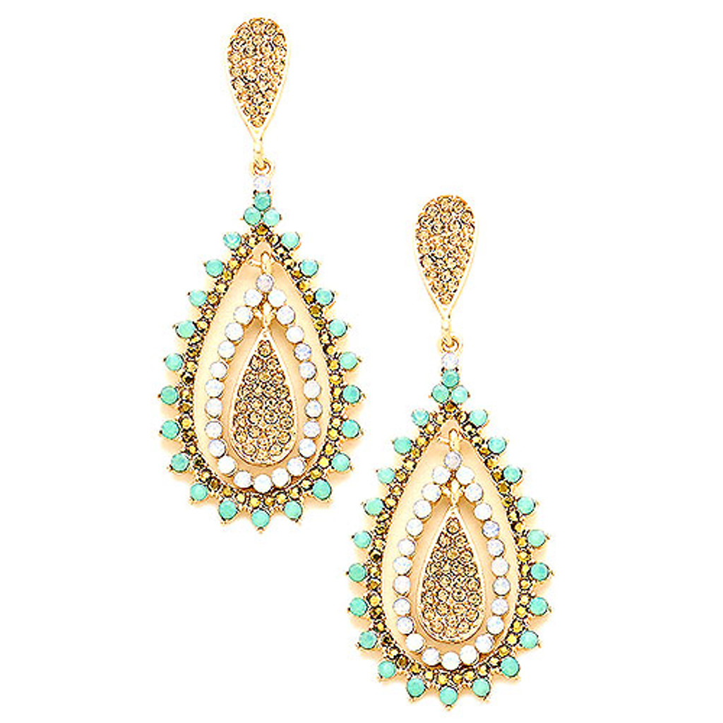 Light Colorado Gold with Mint Opal Crystals Romantica Earring