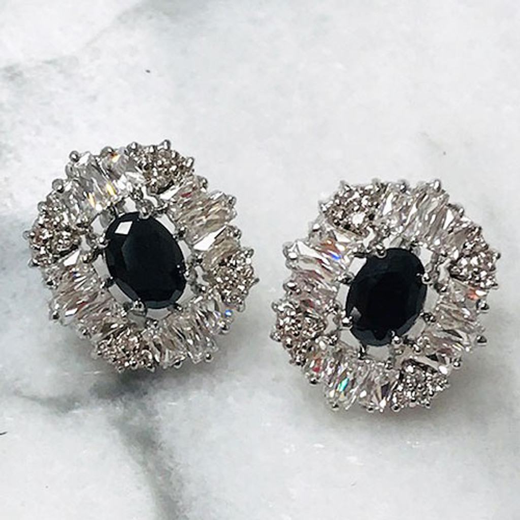 Jet Black and Clear Crystal Posts