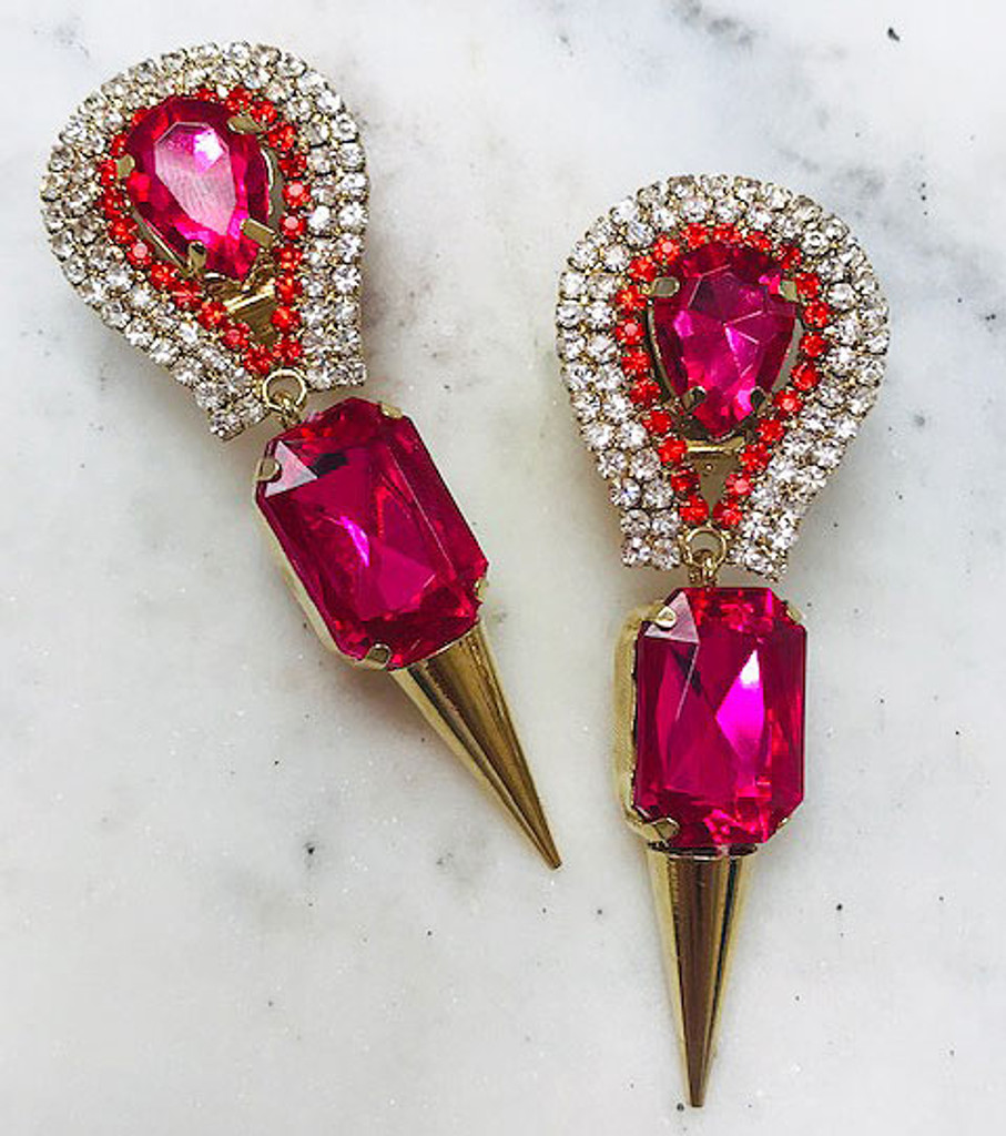Hot Pink Crystal Spiked Earrings