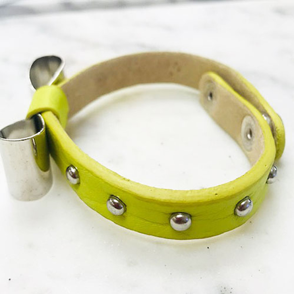 Leather Bracelet With Bow in Citrus or Turquoise