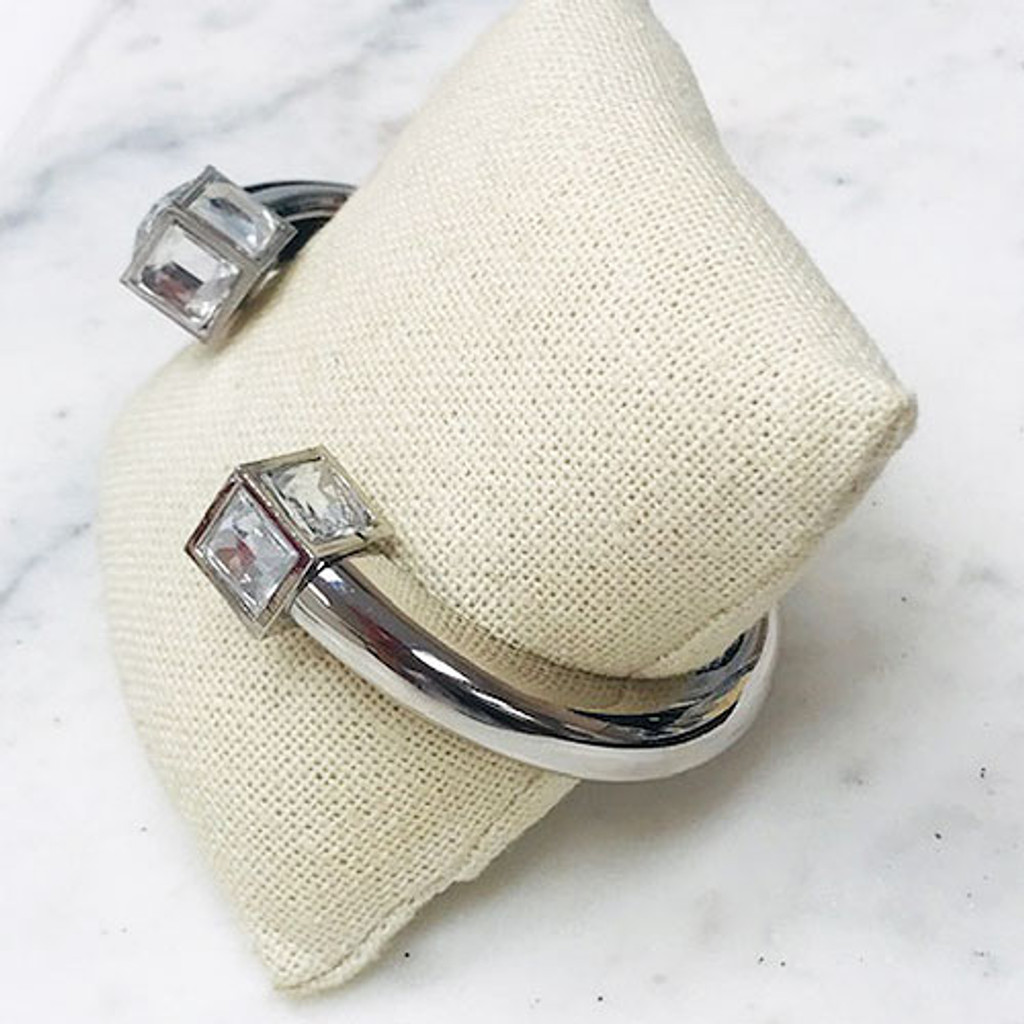 Crystal Cube Open End Silver Bangle