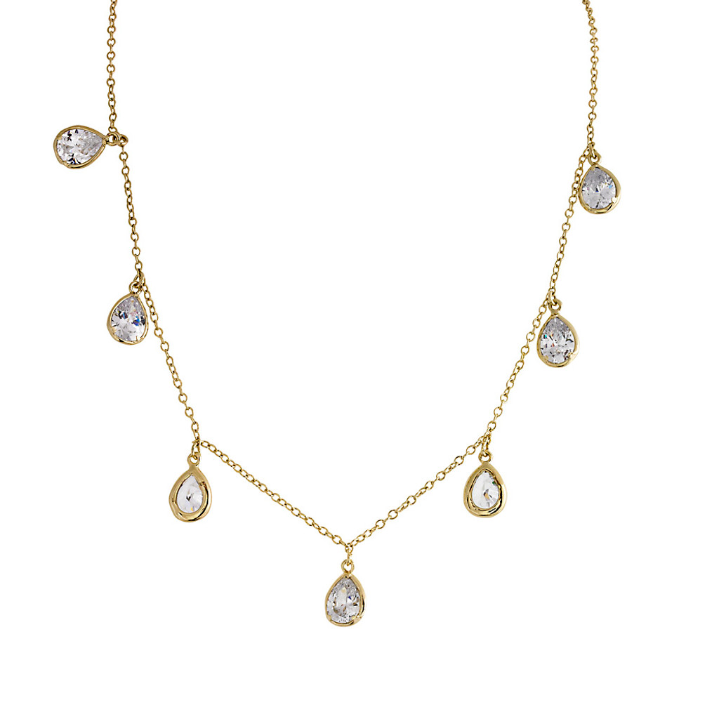 Happy Tears C.Z. Necklace in Gold