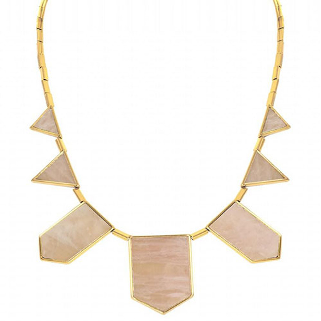 House of Harlow Rose Quartz Station Necklace