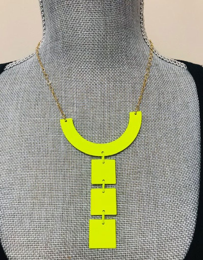 Warhol Tile Necklace Neon Yellow