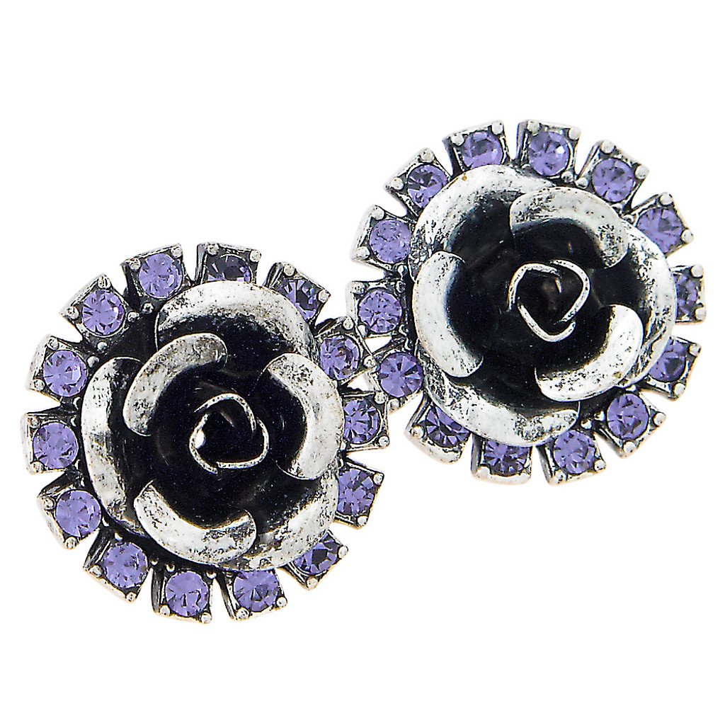 In Full Bloom Stud Earring Purple