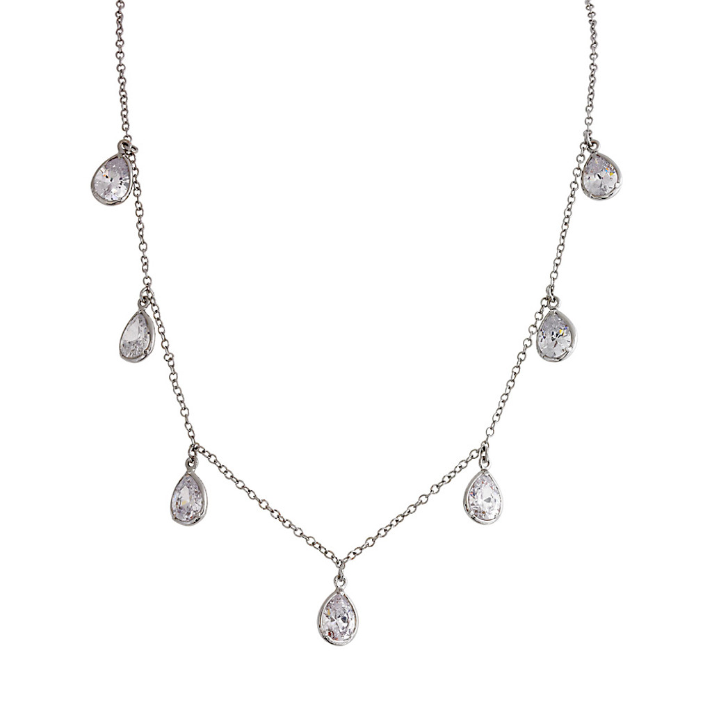 Happy Tears C.Z. Necklace in Silver