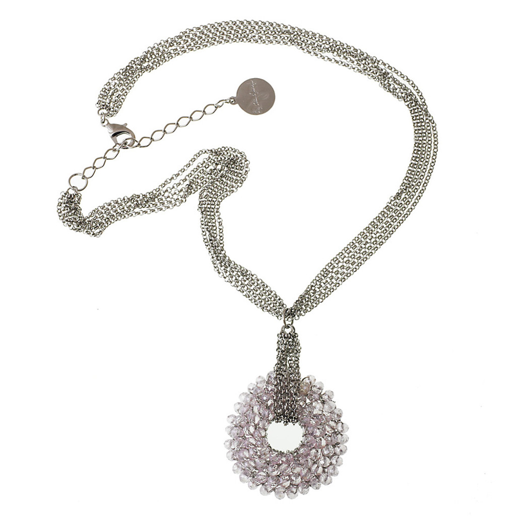 Crocheted Metal with Pink Crystals Necklace