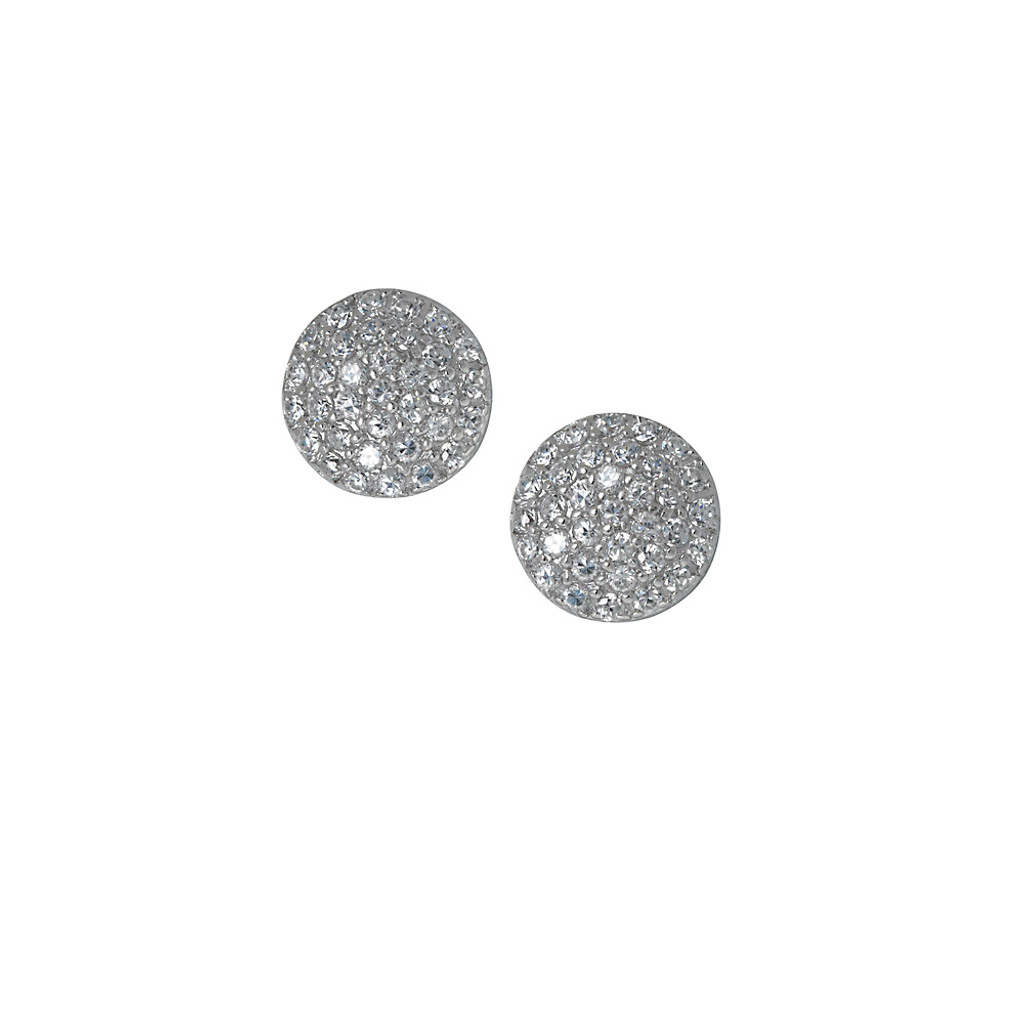 Domed Round Pave Button Earring