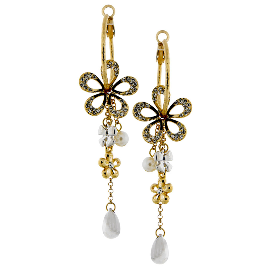 Polished Crystal Flower and Charms Hoop