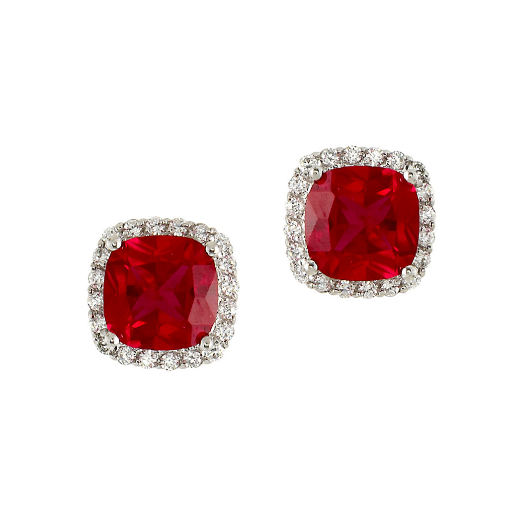 Pink Ruby Cushion Cut Stud