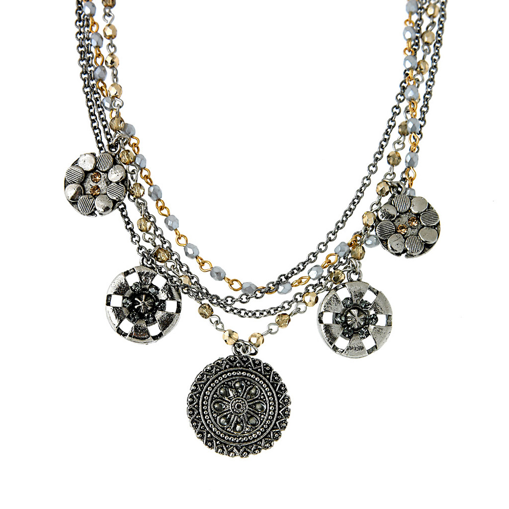 Soft Green and Topaz Multi-Chain Medallion Necklace