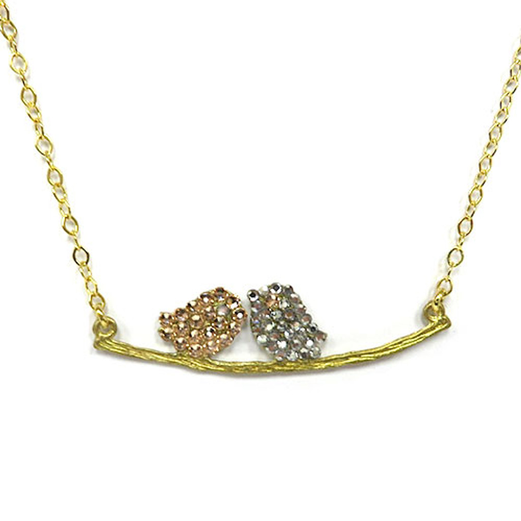 Lil' Lovebirds Necklace Gold & Clear