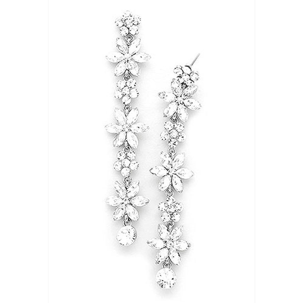 Crystal Flower Shoulder Dusting Earring 1