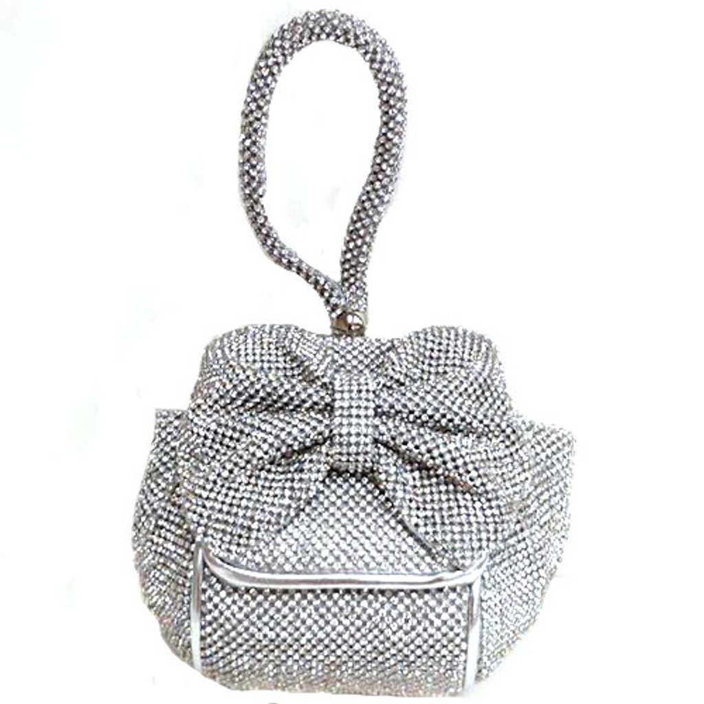 Crystal Mesh Bow Wrist bag