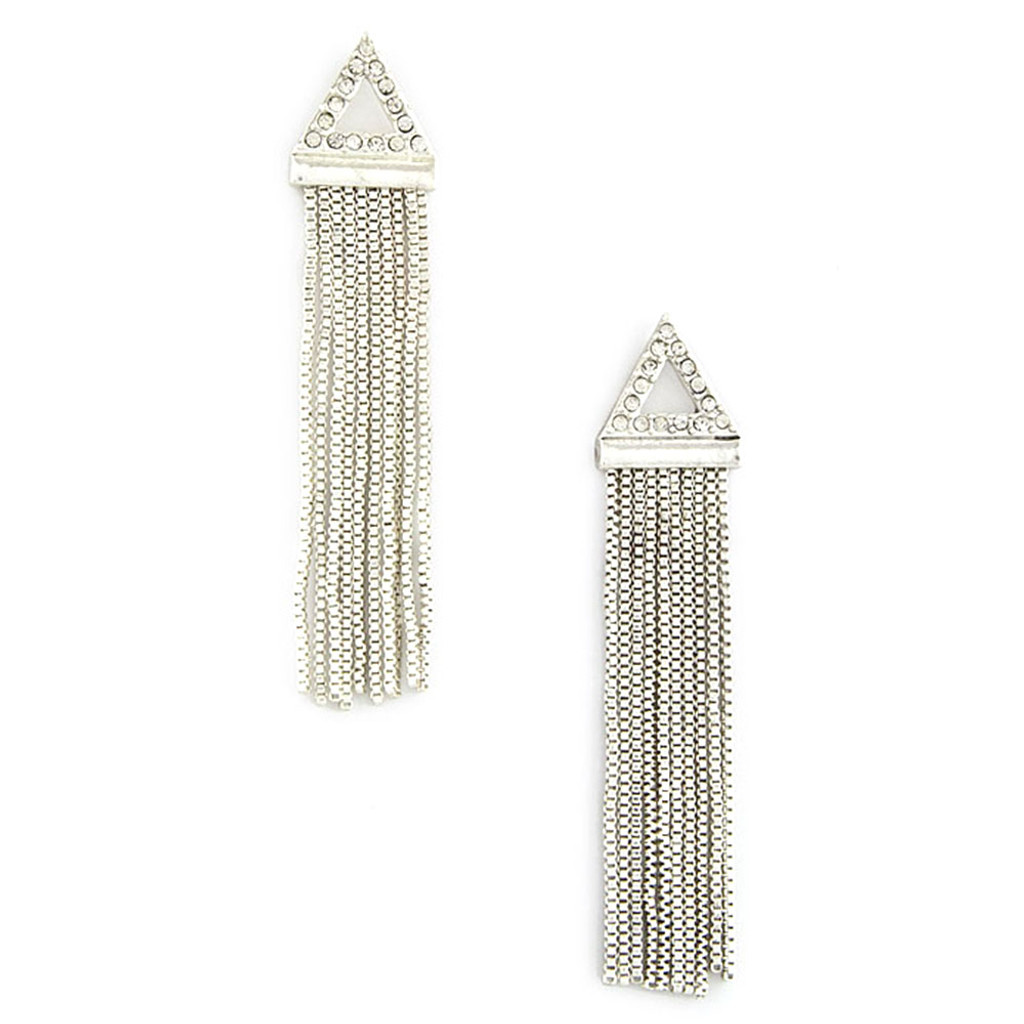 Fringed Triangle Earring Silver