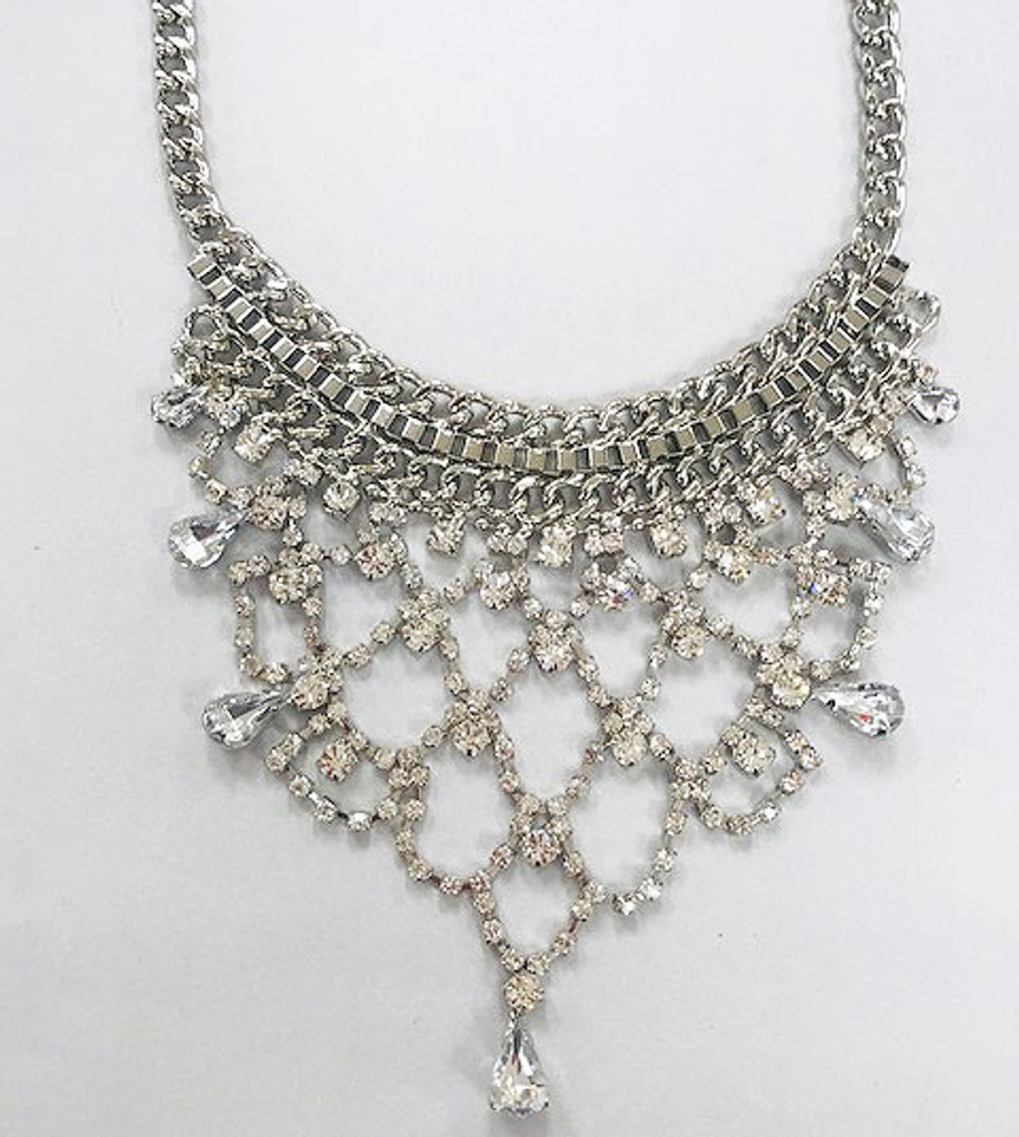 Crystal and Metal Net Bib Necklace Silver