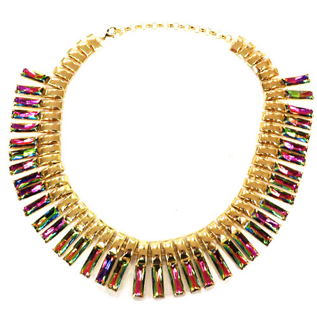 Gold and Multi-Crystal Inca Collar