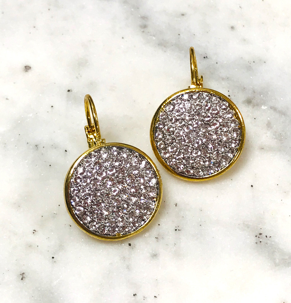 Pave Crystal Disk Earring