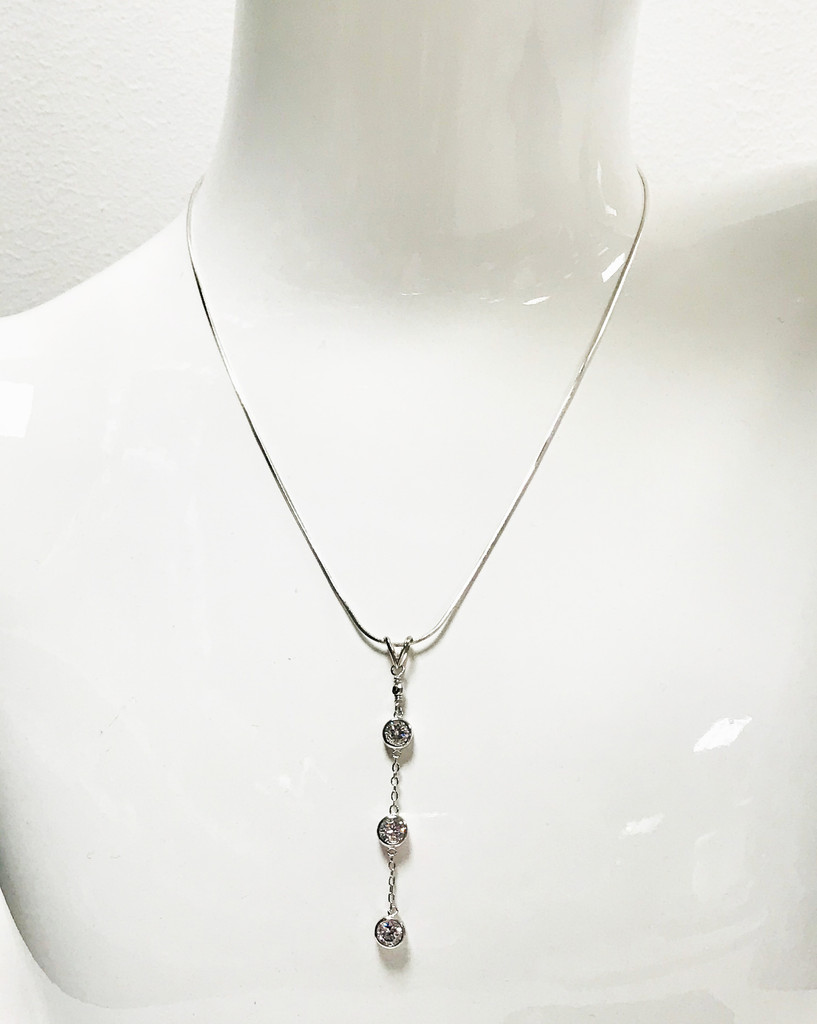 Three Bezel Set Crystals Necklace