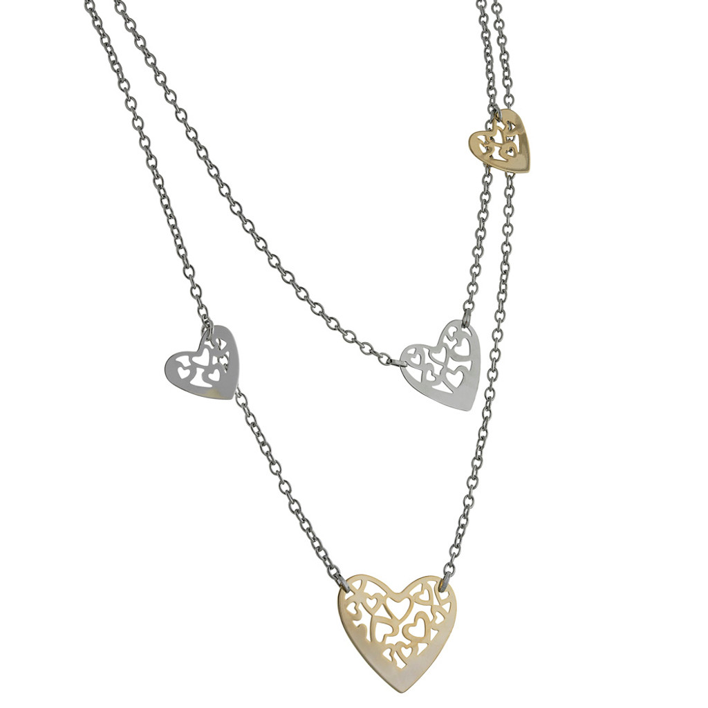 Two Tone Hearts Double Chain Necklace