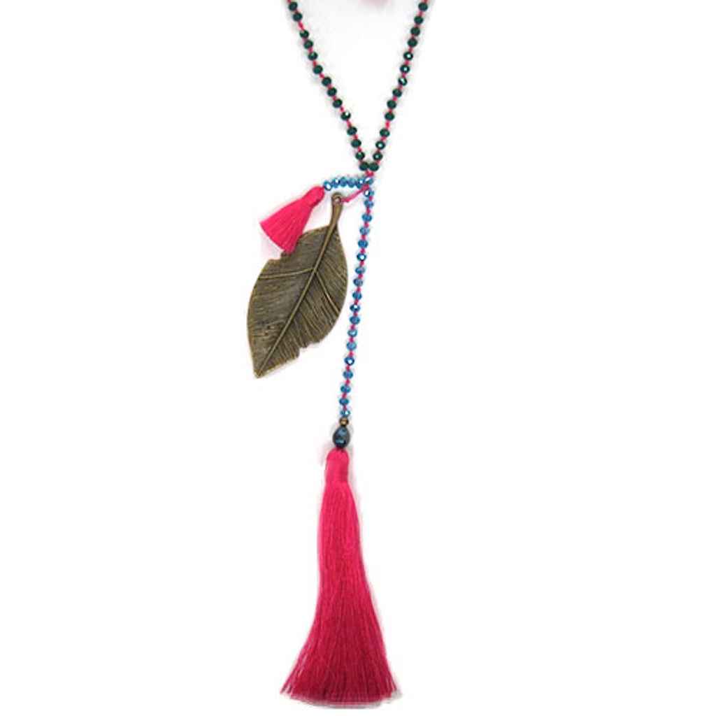 Zacasha's Crystals, Leaves and Pink Tassels Necklace
