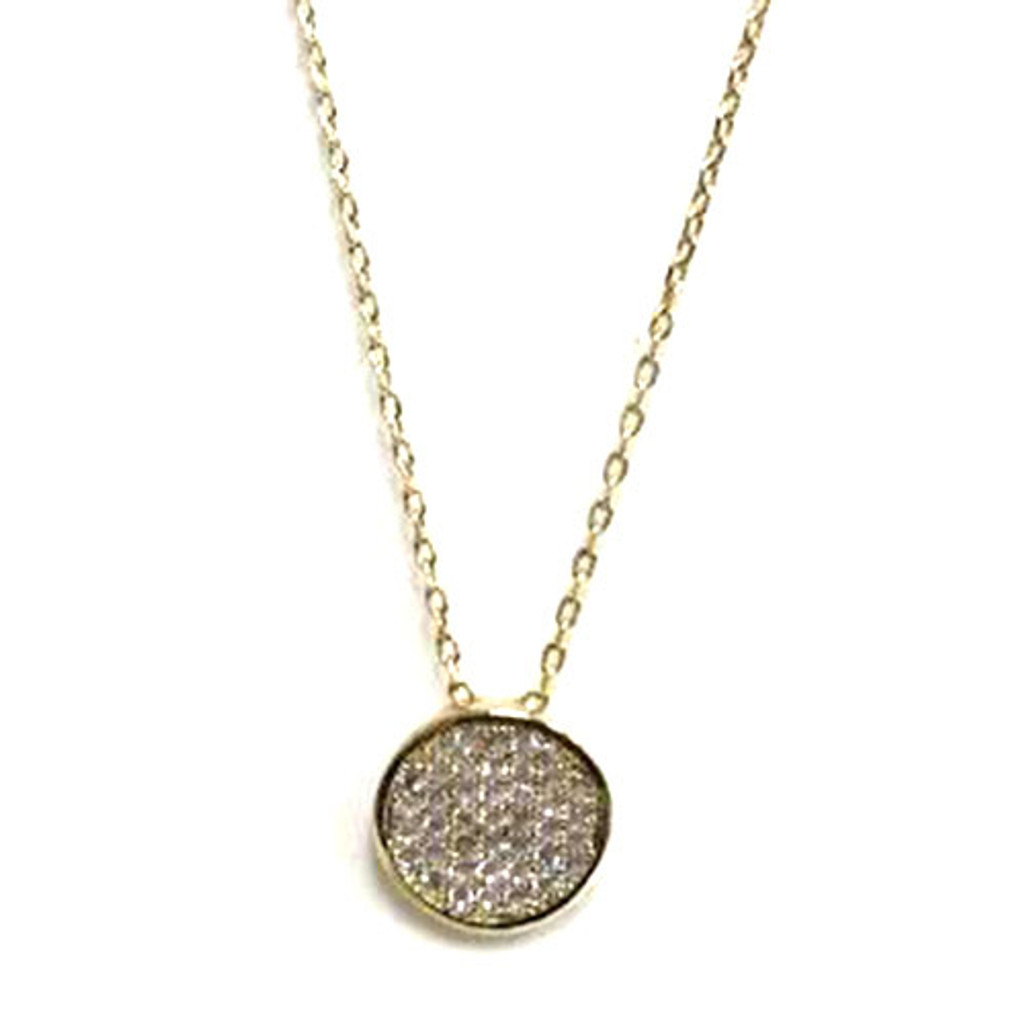 Pave Disk Necklace Gold