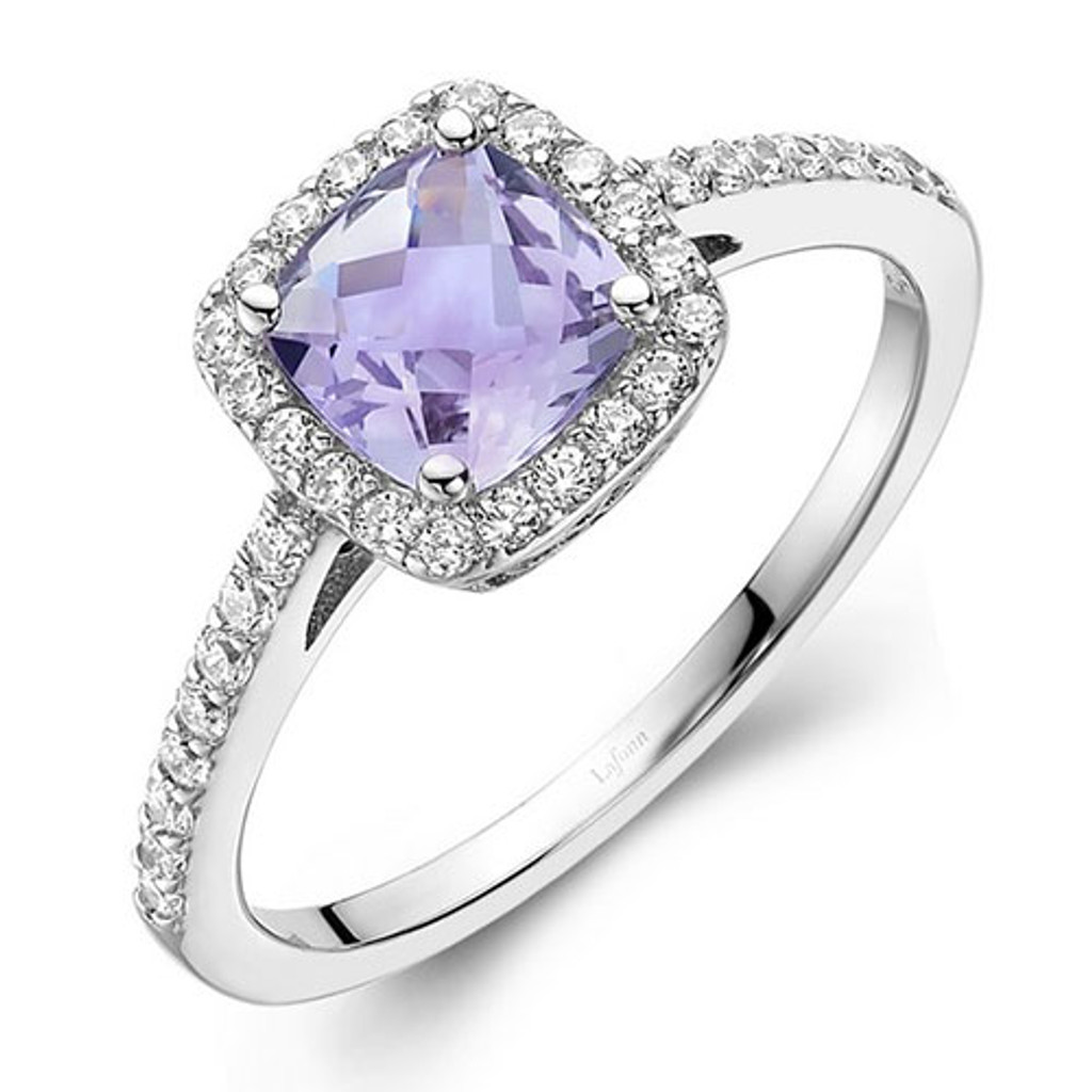 Lafonn's Faceted Square Light Amethyst Princess Ring