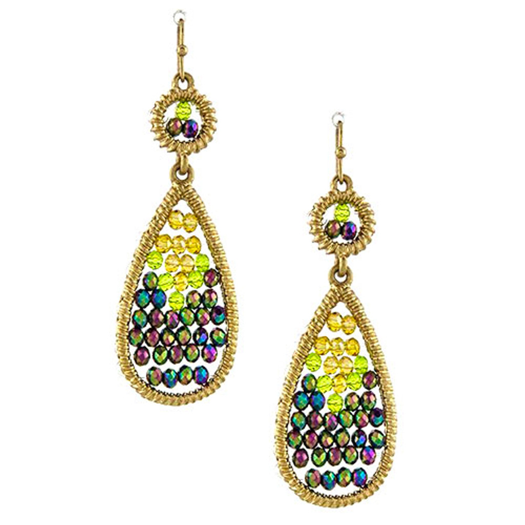 Peacock Beaded Teardrop Earring