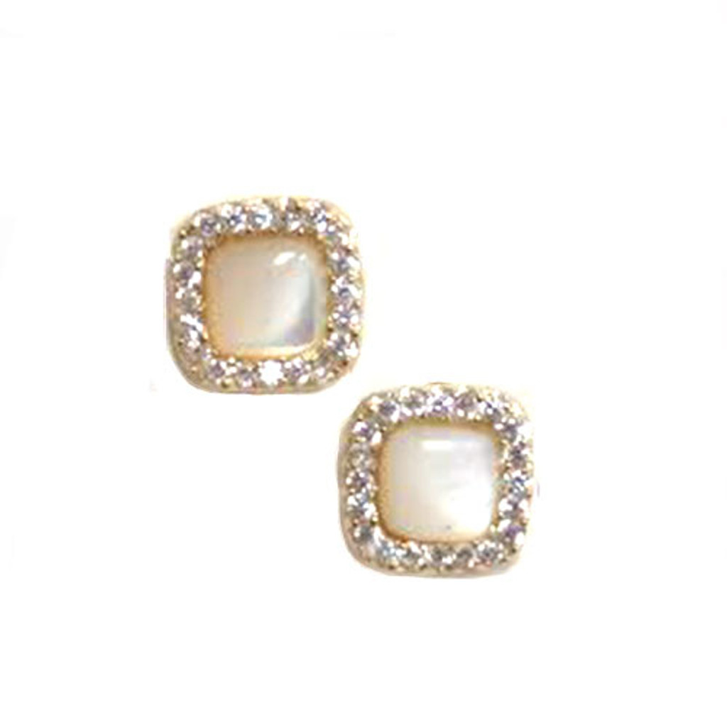 Mother-of-Pearl Square Studs