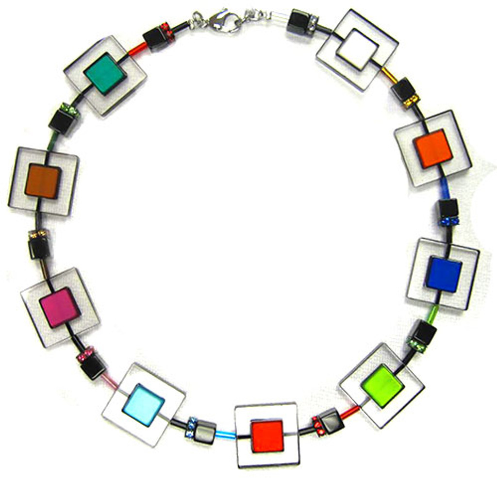 Modern Art Lucite and Swarovski Crystal Necklace