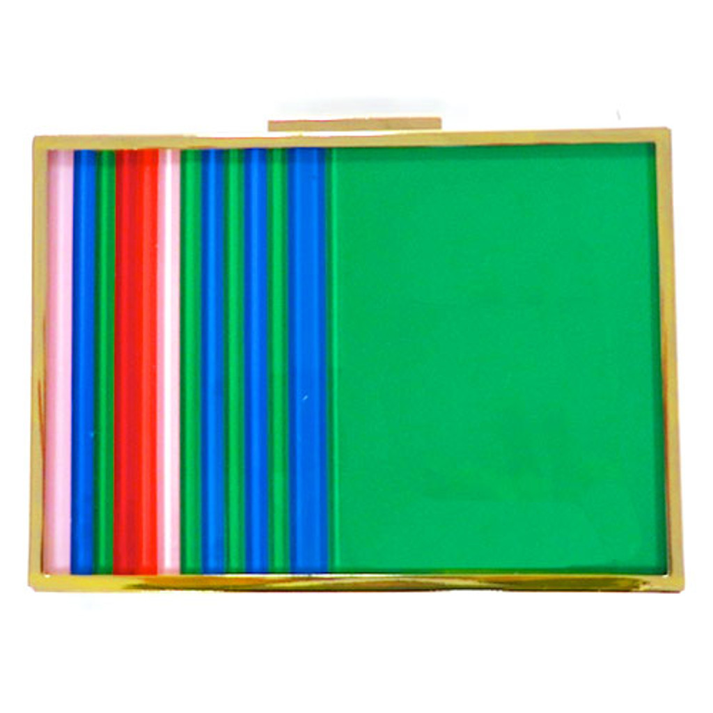 Sondra Roberts Lucite Striped Multi/Red Clutch