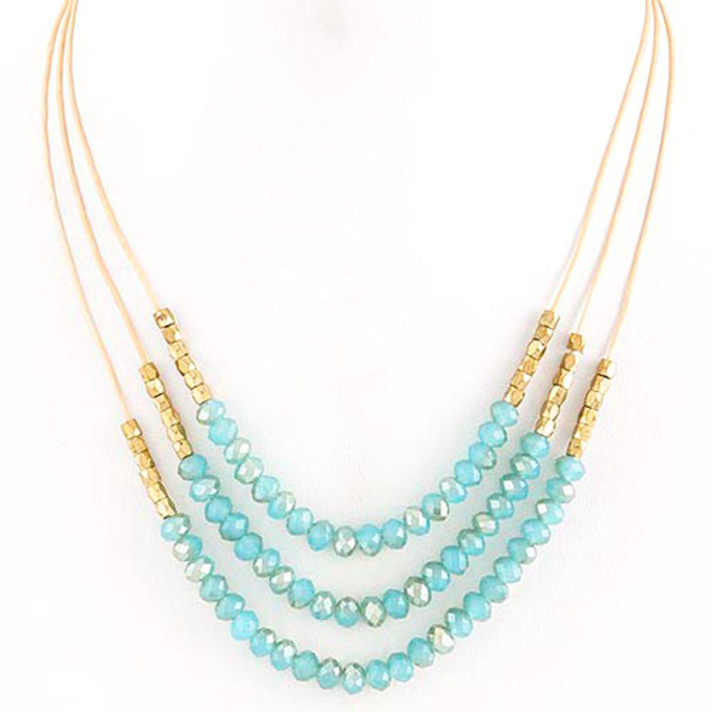 Layered Beaded Strands Necklace Light Blue