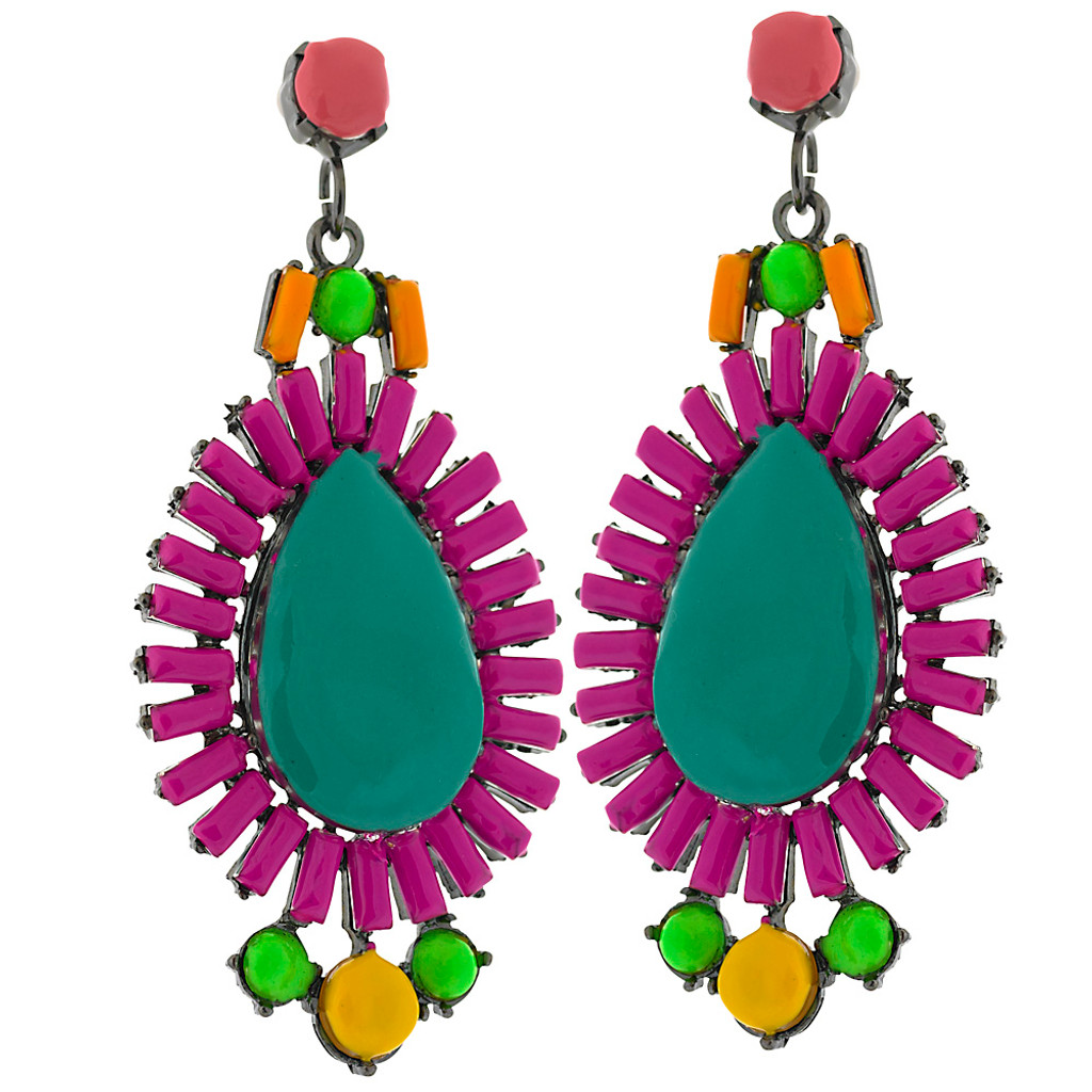 Colorful Tribal Enamel Earring