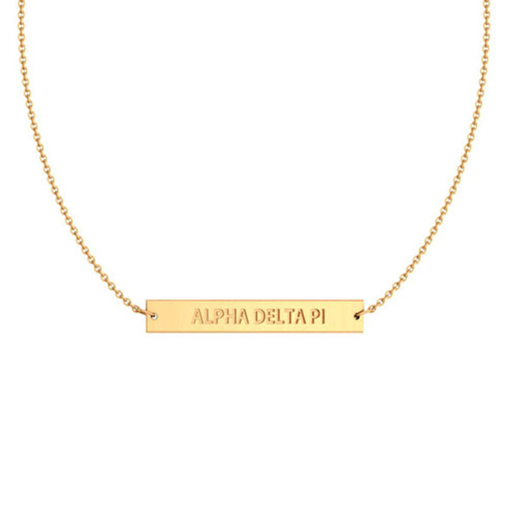 Alpha Delta Pi Gold Infinity Bar Necklace