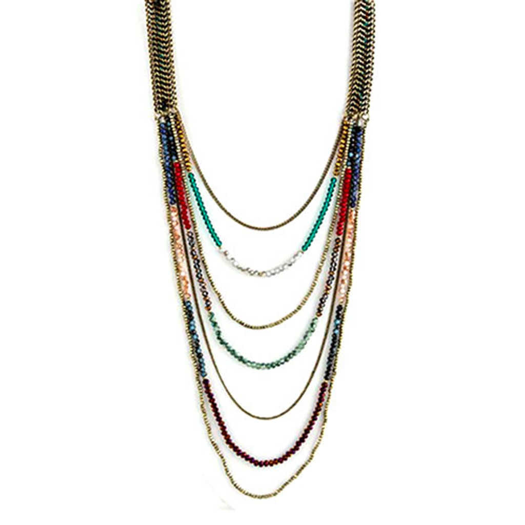 Crystal Jewel Tones In Antiqued Gold Necklace