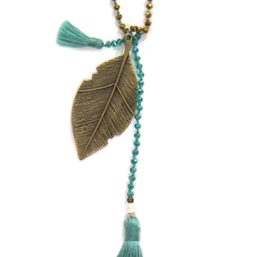 Zacasha's Crystals, Leaves and Aqua Tassels Necklace