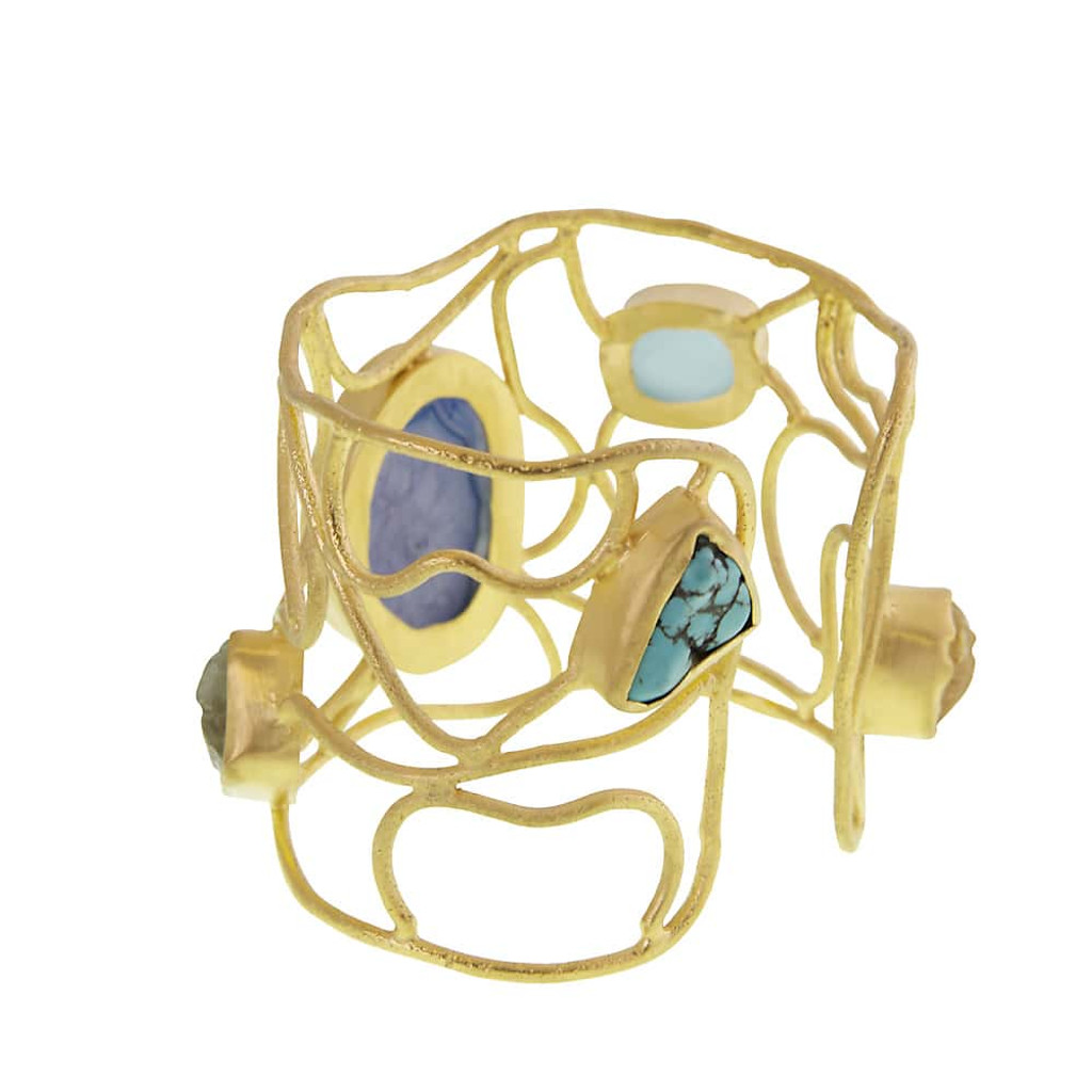 Exotic Stone Cuff Bracelet Blues