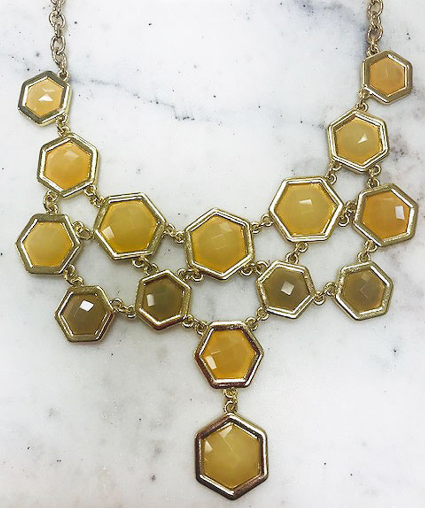 Beige and Cream Hexagon Shaped Jeweled Necklace