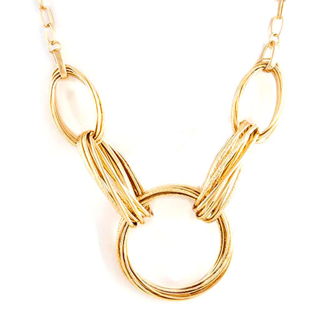 Gold Linked Circles Statement Necklace