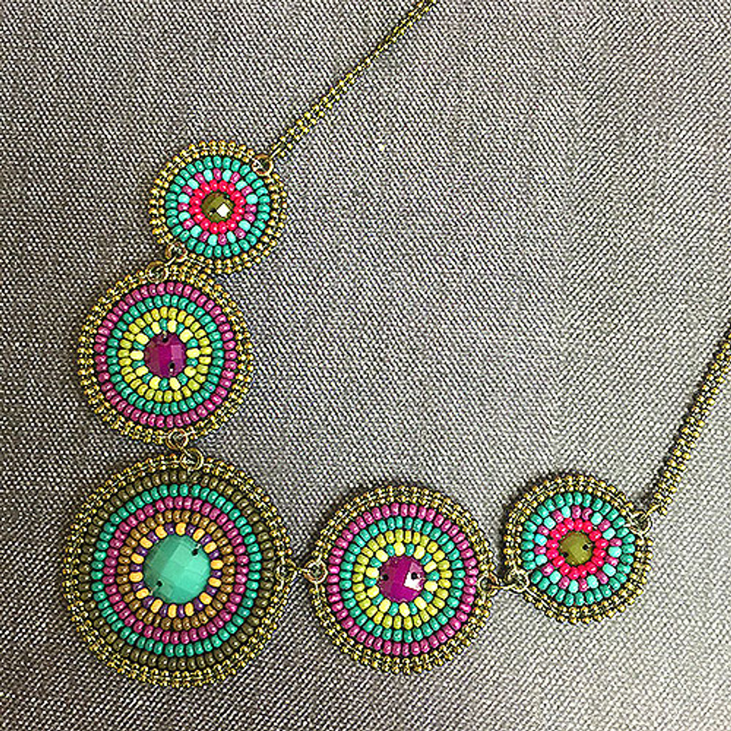 Concentric Beaded Circles Necklace