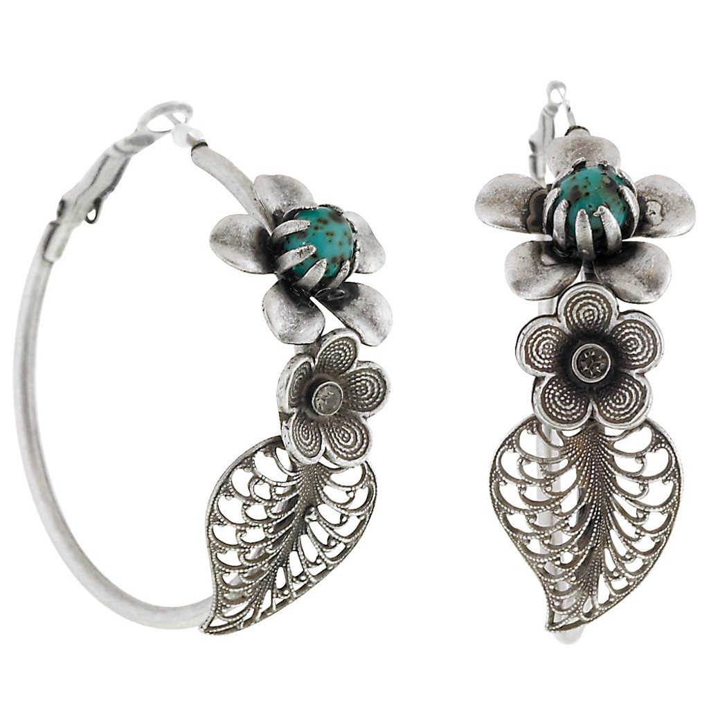 Antiqued Flower Leaf Hoop Earring