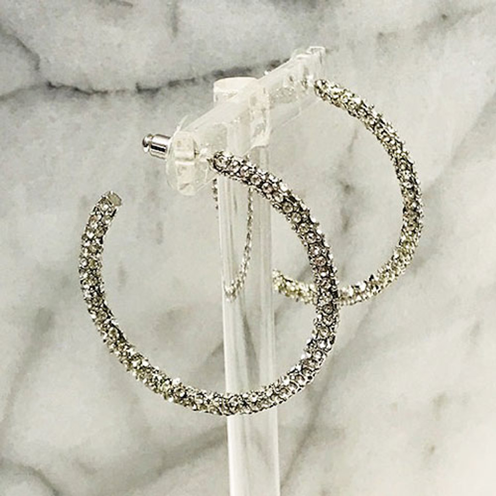 Pave Cubic Zirconia Hoops