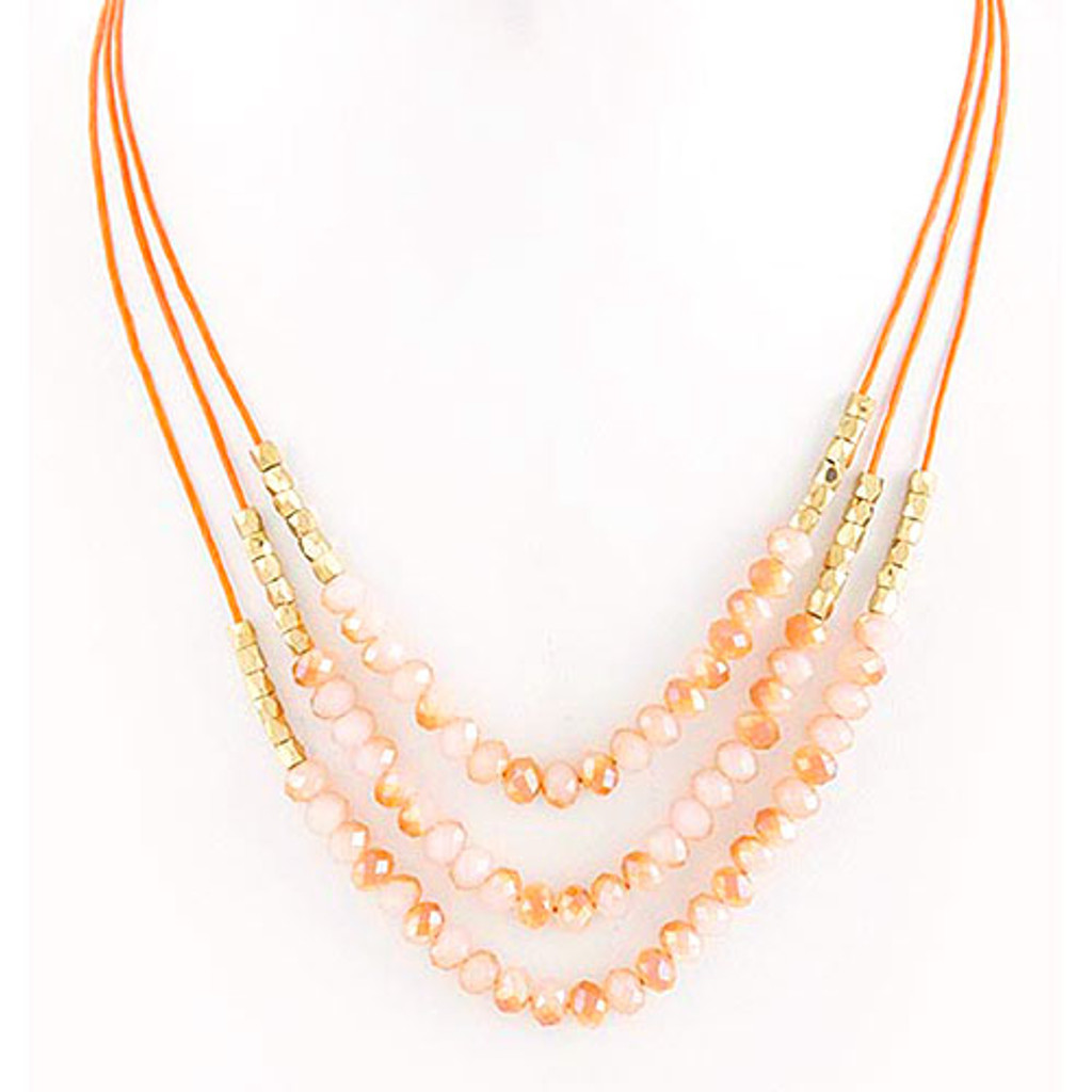 Layered Beaded Strands Necklace Peach
