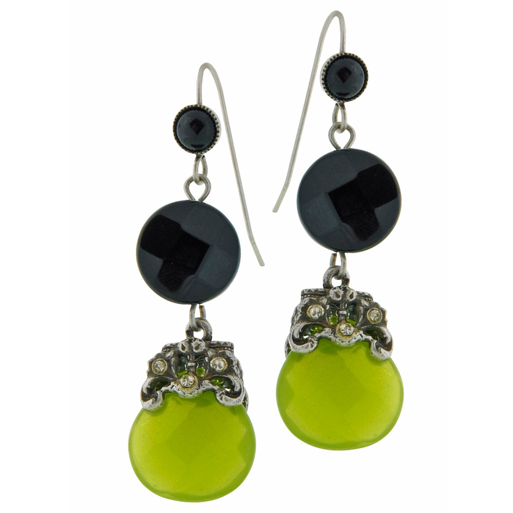 Apple Jade and Obsidian Black Crystal Dangles