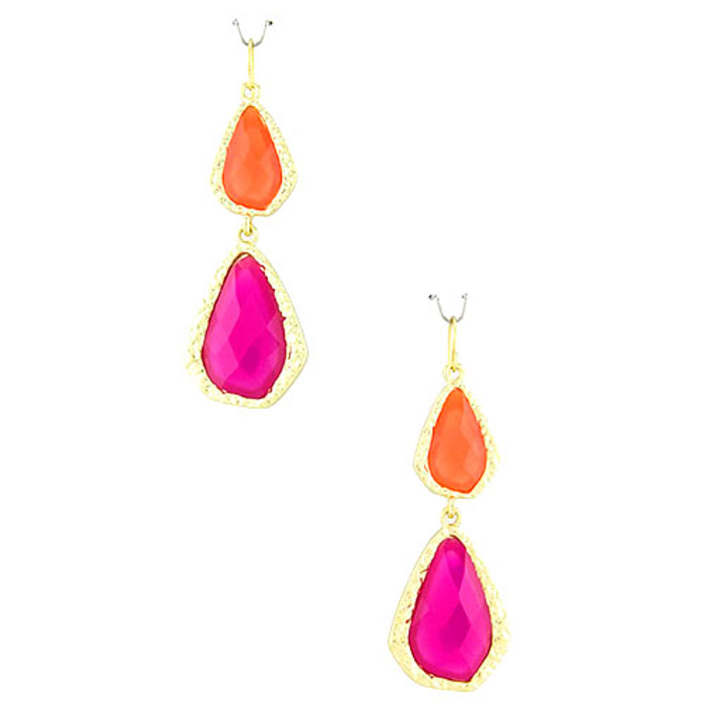 Orange/Pink Double Teardrop Acrylic Earring