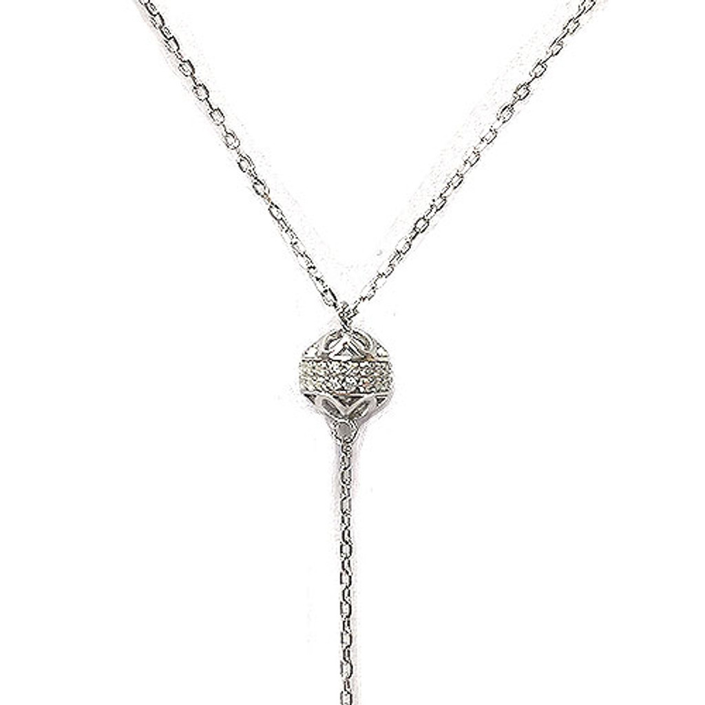 Sterling Silver C.Z. Crescent Moon Y-Necklace