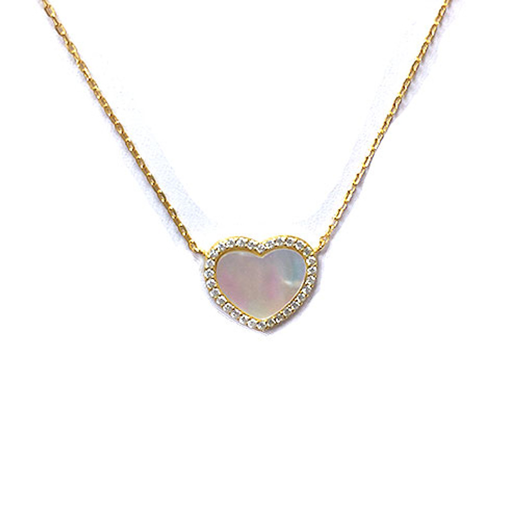 Gold Plated & Mother-of-Pearl Heart Necklace